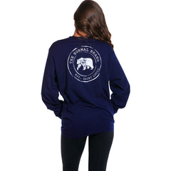 Boyfriend Long Sleeve Circle Back T - Navy