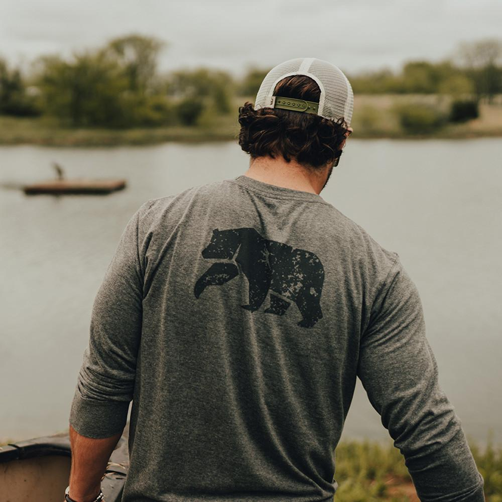 Vintage Bear Long Sleeve T-shirt - Tri Blend Grey