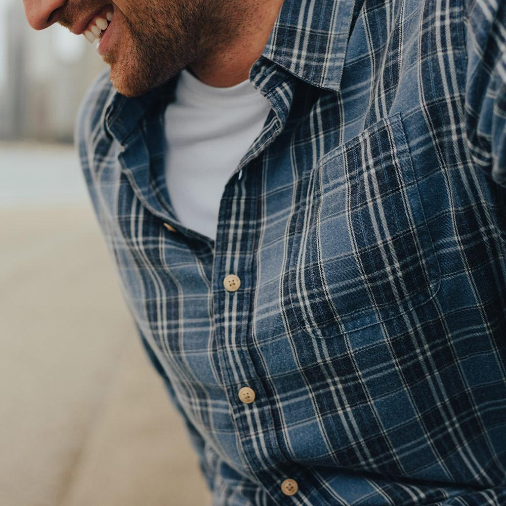 Washed Seasons Plaid Button Down Shirt - Navy