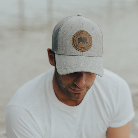 Leather Patch Trucker Cap - Grey