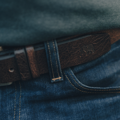 Vintage Glazed Leather Belt - Pine