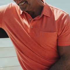 Vintage Slub Short Sleeve Pocket Polo - Sunrise