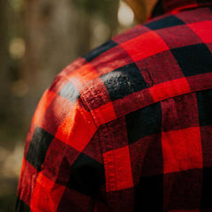brushed buffalo flannel shirt red/black