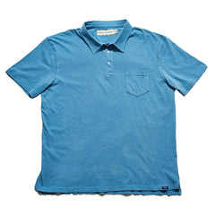 Vintage Slub Short Sleeve Pocket Polo - Blue