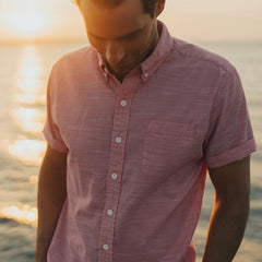 Slub Cotton Short Sleeve Button Down Shirt - Pink
