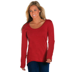 scoop neck womens long sleeve shirts heather red
