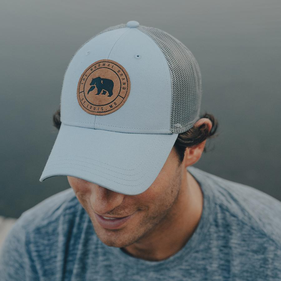 Leather Patch Trucker Cap - Blue