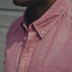 Slub Cotton Short Sleeve Button Up Shirt - Pink