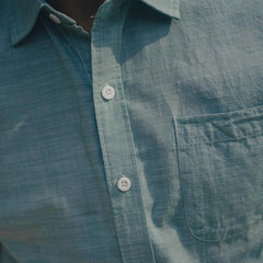 Slub Cotton Short Sleeve Button Up Shirt - Mint