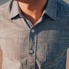 Slub Cotton Short Sleeve Button Up Shirt - Navy
