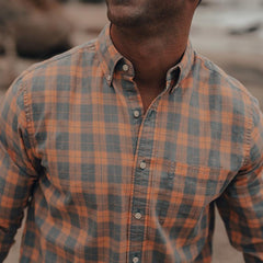 Two-Toned Check Button Down Shirt - Coral
