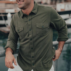 Loose Knit Button Up Shirt - Sea Grass
