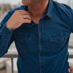 Loose Knit Button Up Shirt - Indigo