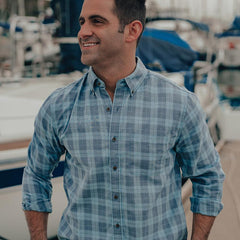 Two-Toned Check Button Down Shirt - Vallarta Blue