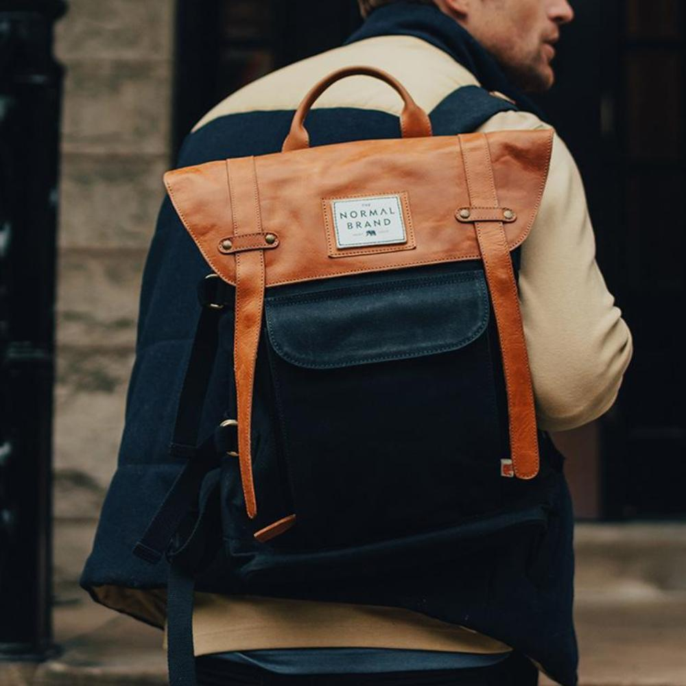 Top Side Leather Backpack - Navy