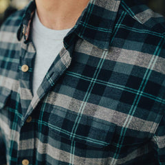 Conrad Plaid Button Up Shirt - Navy/Teal