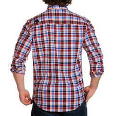 marco stretch plaid mens button down red/blue