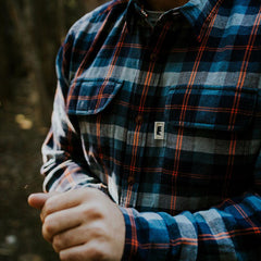 conrad flannel shirt navy/orange