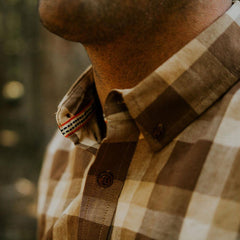 brushed buffalo flannel shirt brown/cream