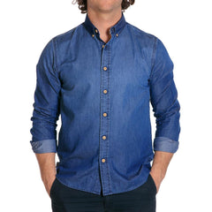soft hand denim mens blue jean shirts