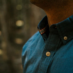 washed houndstooth shirt blue