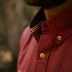 washed houndstooth shirt red