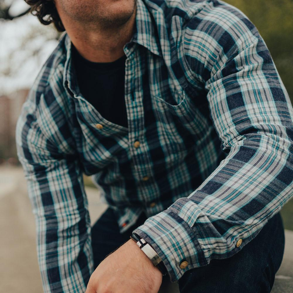 Washed Seasons Plaid Button Down Shirt - Teal/Stone