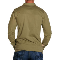 Men's Long Sleeve Polo - Olive