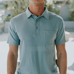 Puremeso Pocket Polo - Faded Denim
