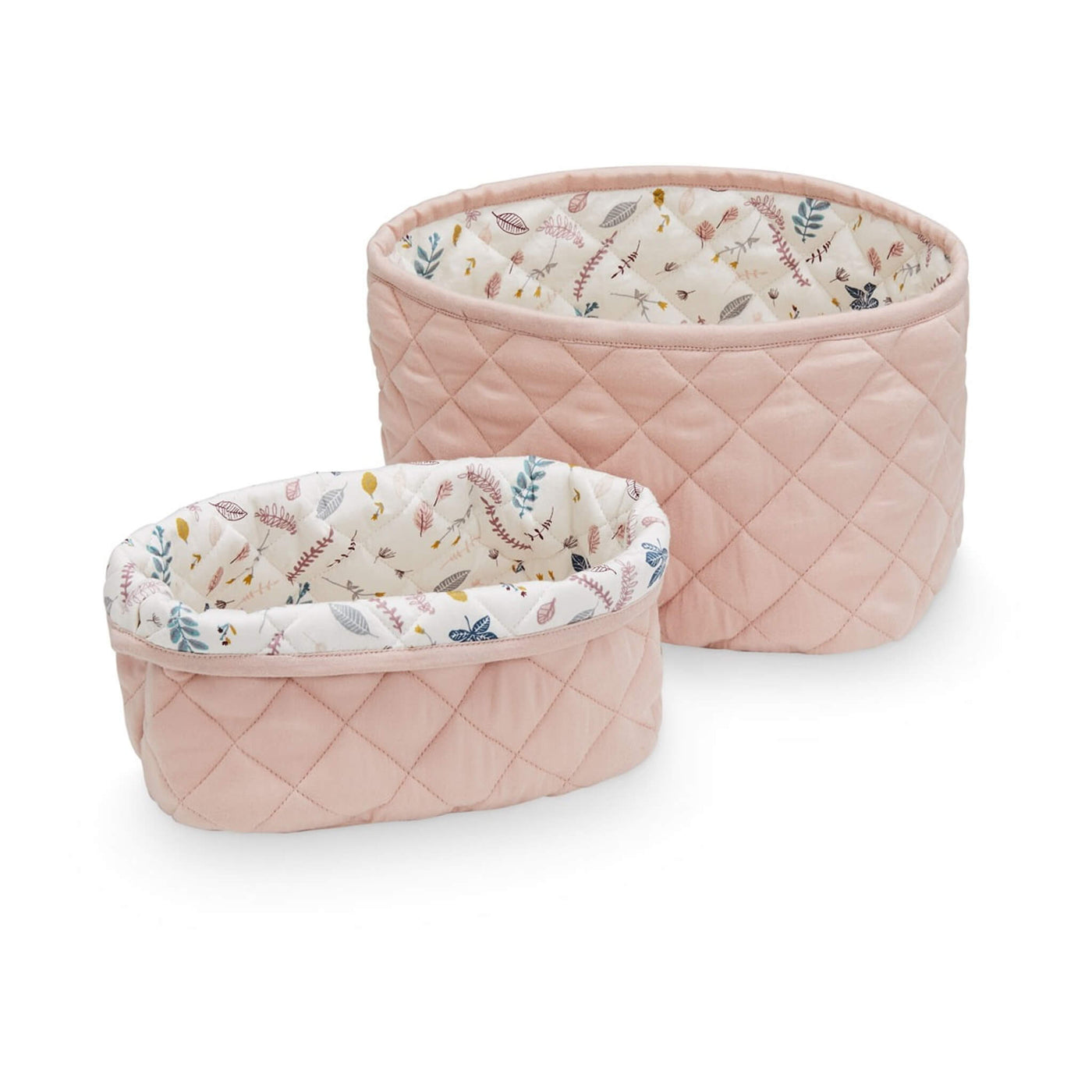 Quilted Storage Basket - Set of 2 - Blossom Pink