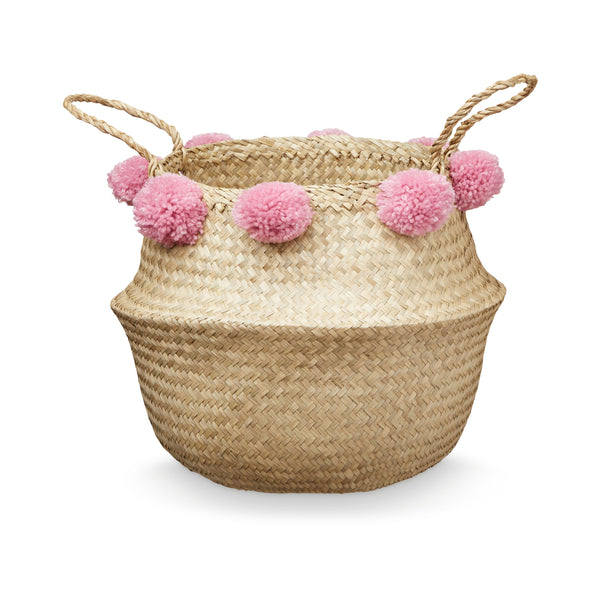 Pom Pom Belly Basket - Berry