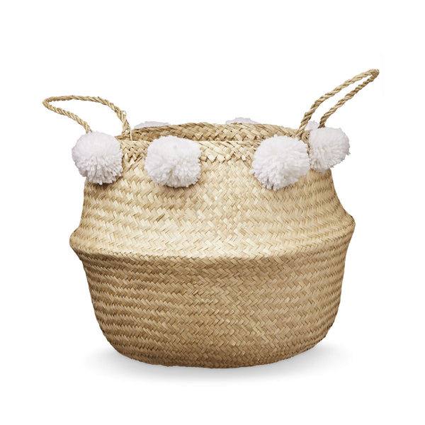 Pom Pom Belly Basket - White