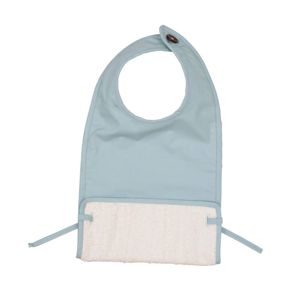 Coated Muslin Feeding Bib - Foggy Blue