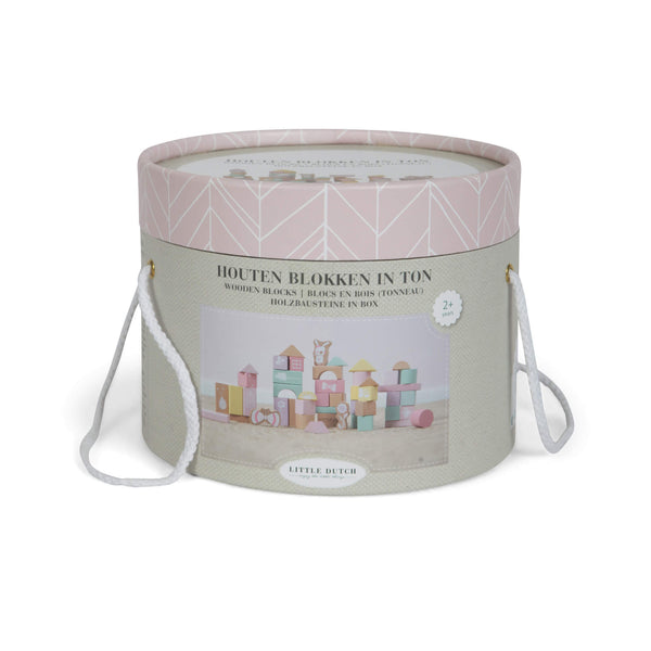 Wooden Building Blocks in Bucket - Pink