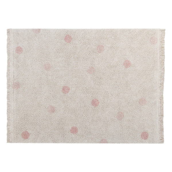 Hippy Dots Washable Rug - Nude Pink