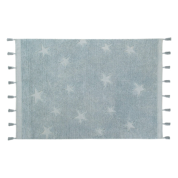 Hippy Stars Washable Rug - Aqua Blue
