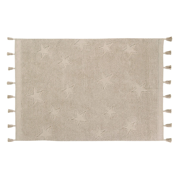 Hippy Stars Washable Rug - Natural