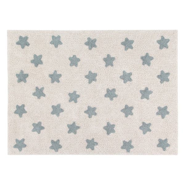 Stars Washable Rug - Vintage Blue