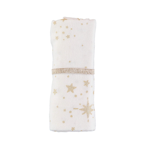 Organic Butterfly Swaddle - Gold Stella/ White