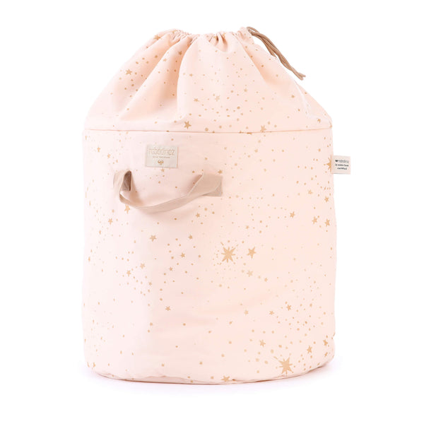 Large Bamboo Toy Storage Bag - Gold Stella/ Dream Pink