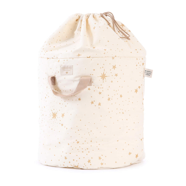 Large Bamboo Toy Storage Bag - Gold Stella/ Natural