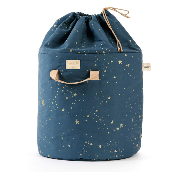 Large Bamboo Toy Storage Bag - Gold Stella/ Night Blue