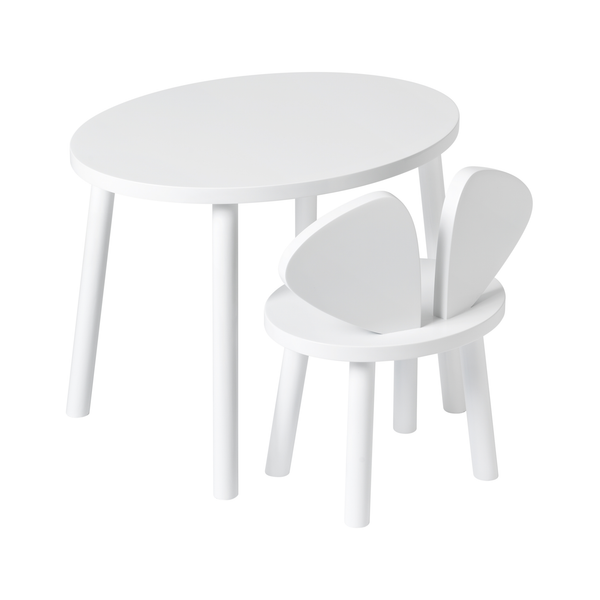 Mouse Chair & Table Bundle - White