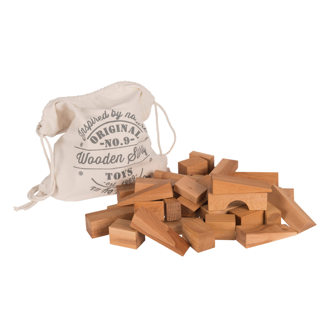 Natural Wooden Building Blocks - 50 pieces
