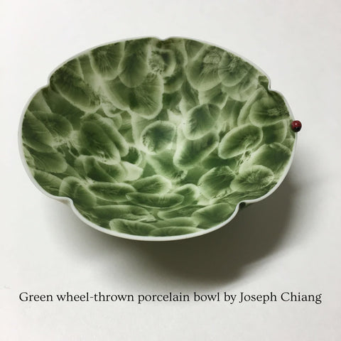 Green wheel-thrown porcelain bowl by Joseph Chiang