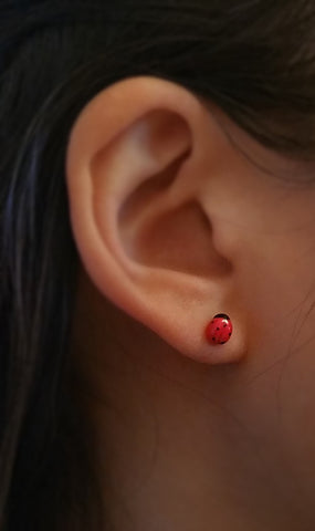 Porcelain ladybug stud earrings