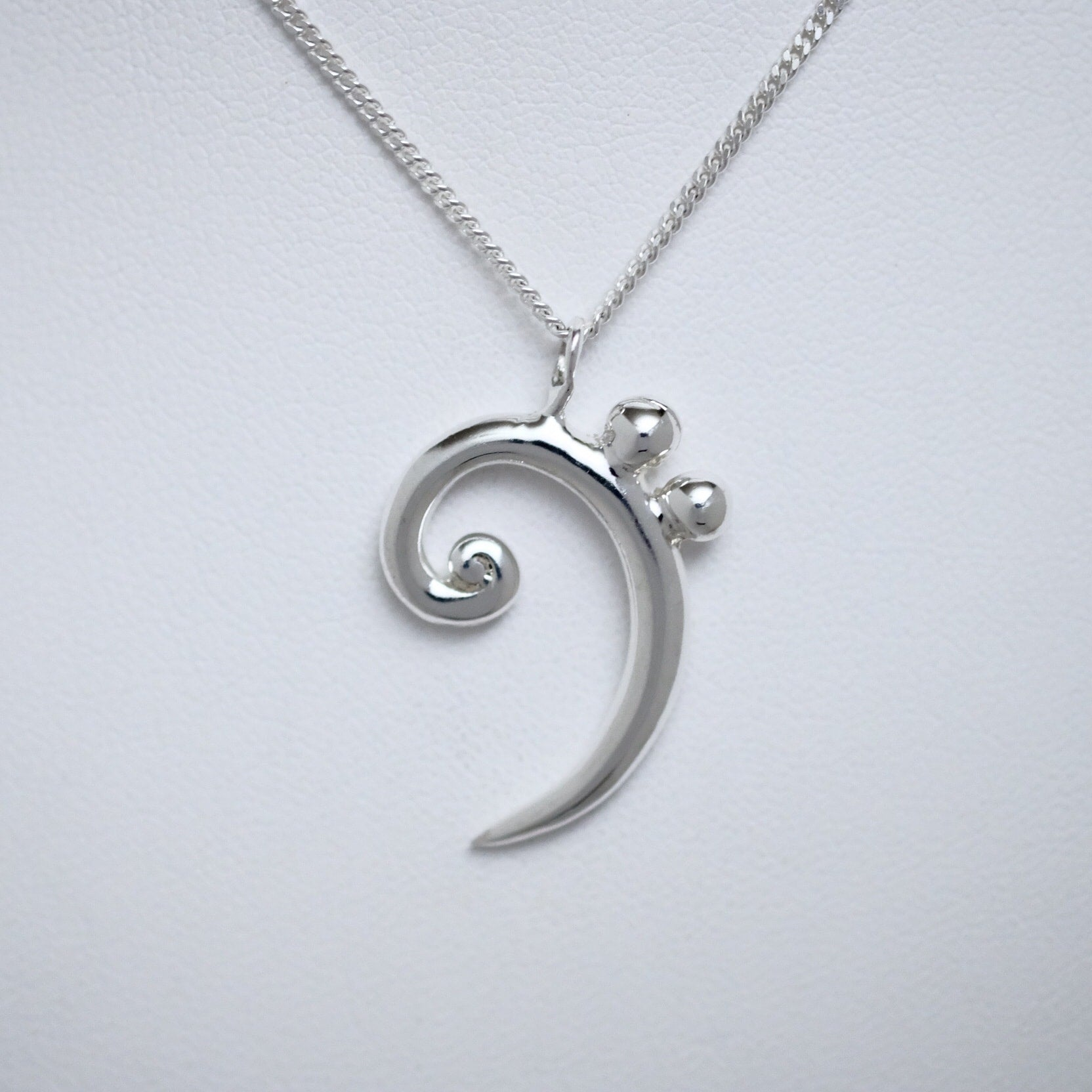 Bass Friends Bass Clef large sterling silver pendant by Joseph Chiang