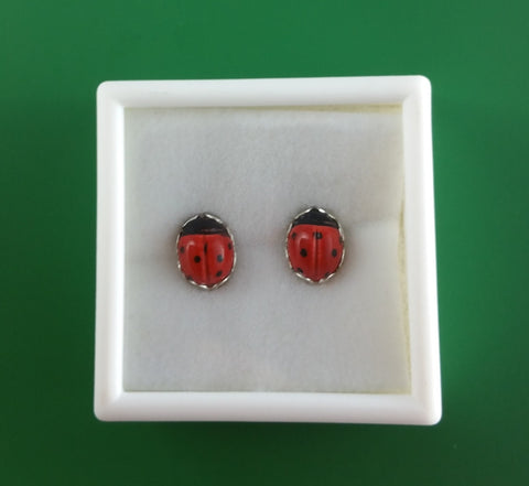 Ladybug stud earrings with silver scalloped edging (large).   (free shipping for North America)