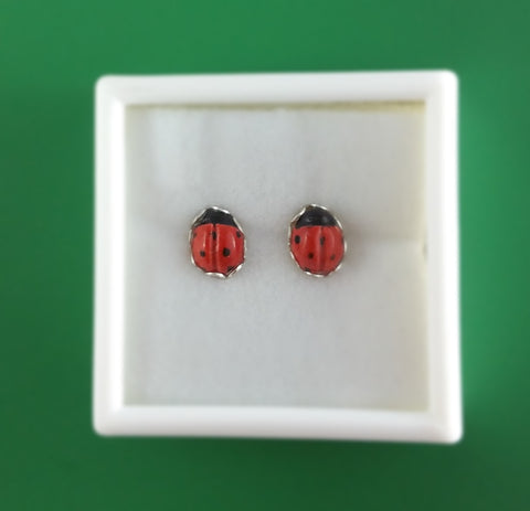 Ladybug stud earrings with silver scalloped edging (small). (free shipping for North America)