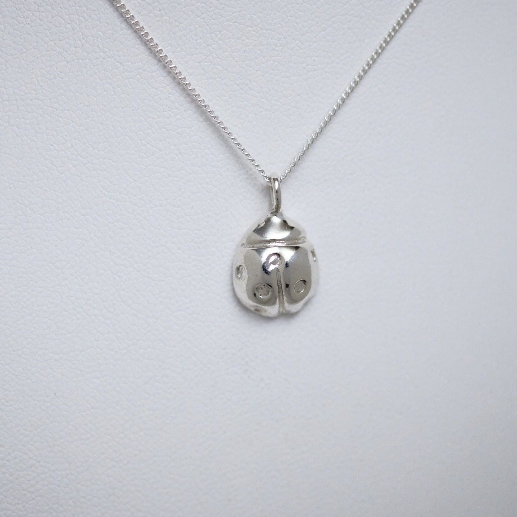 Large sterling silver ladybug necklace by Joseph Chiang